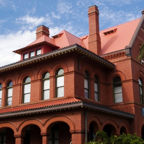 The brick exterior of Key West Art & Historical Society Custom House