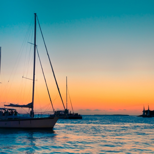 Sailboats at sunset from Key West.