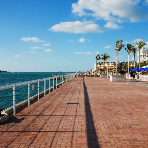 Oceanside red brick road running along Mallory Square.
