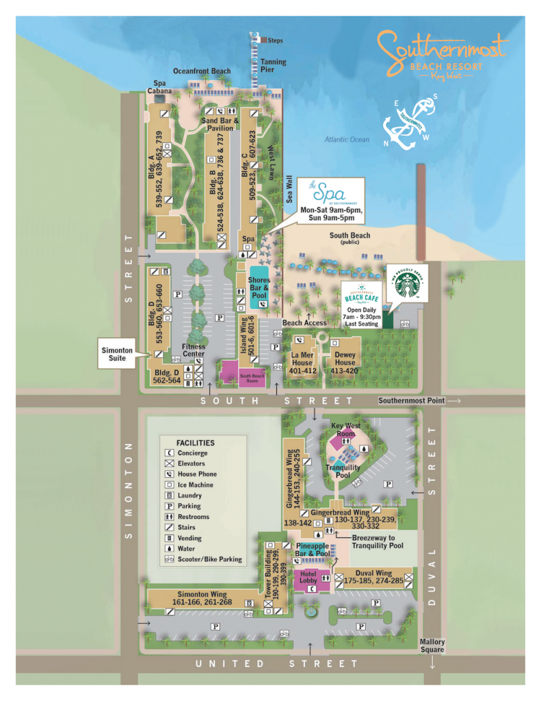 Southernmost Beach Resort map.