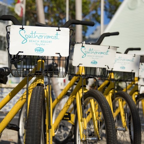 Four yellow rental bikes lined up side by side with Southernmost logo.