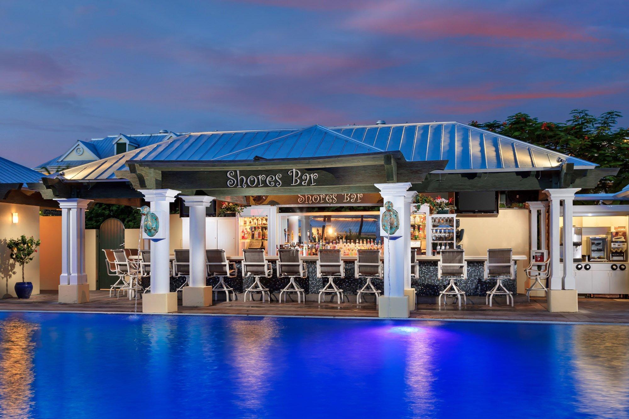 Poolside Shores Bar at dusk.
