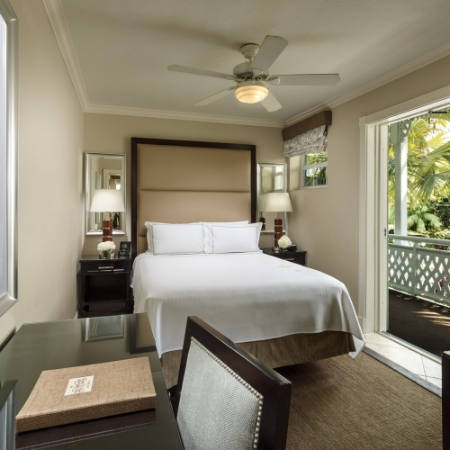 Desk and Bed in the Deluxe Petite Queen room at Southernmost Beach Resort