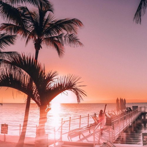 Pink sunset behind palm trees and boardwalk.