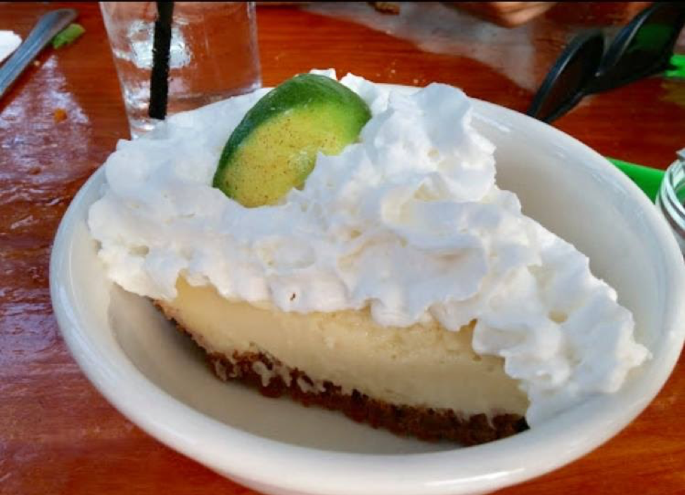 Classic key lime pie on a plate