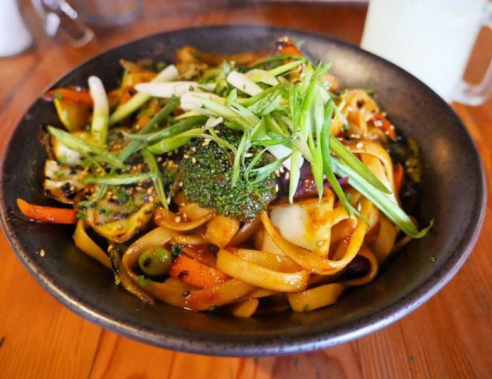 Spicy Szechuan Stir Fry with tofu, noodles, vegetables