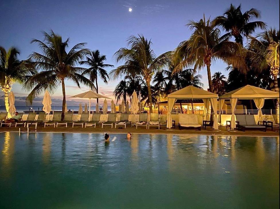 Moonlit pool views.