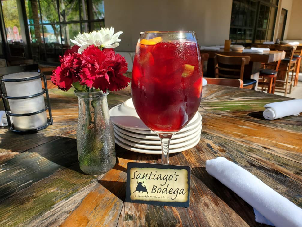 Cold glass of sangria from Santiago's Bodega
