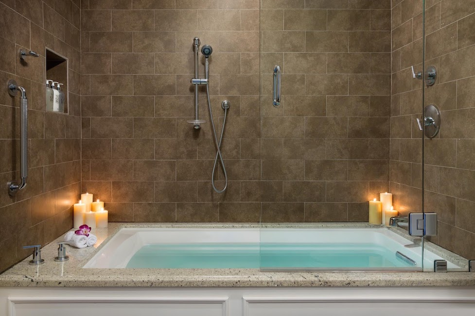 A candle lit bath tub scene