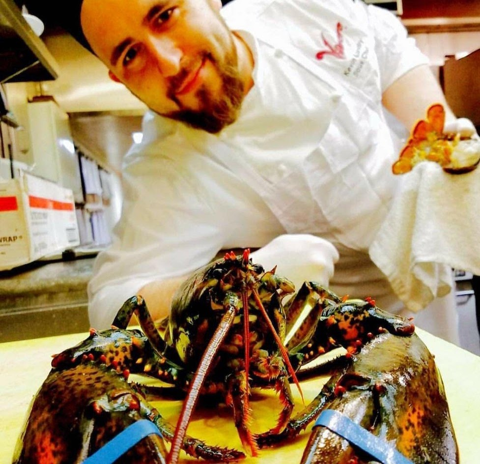 A chef showing off a plated lobster