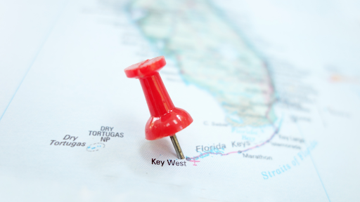 A map with a pin on the Key West region.