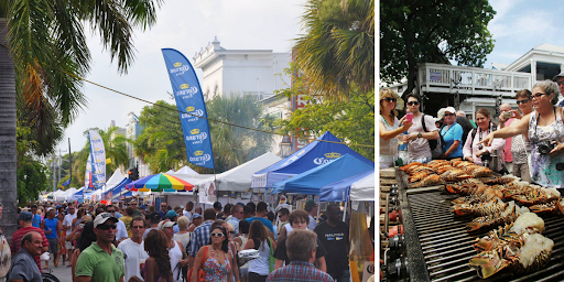 Groups of people enjoying Key West's Lobsterfest