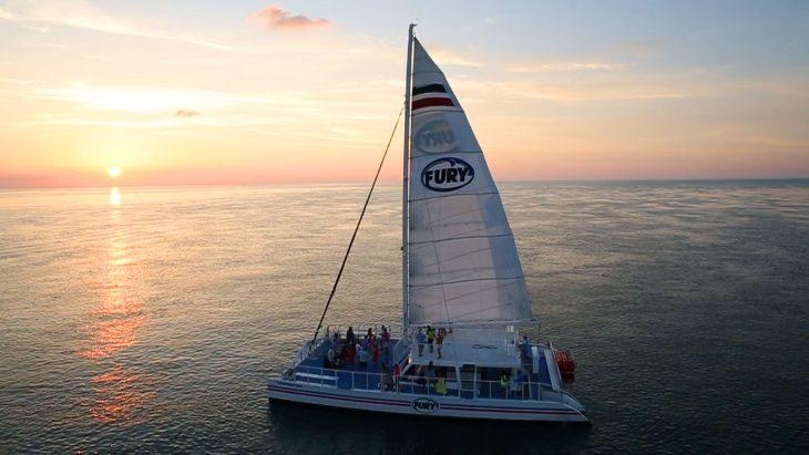 Sailboat on the open ocean
