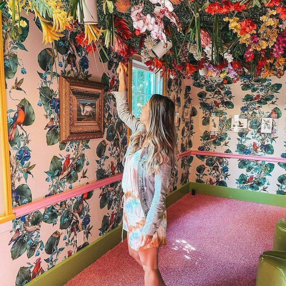woman in a decorated house